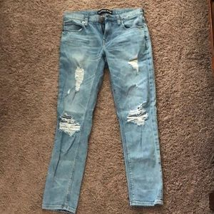 EXPRESS DISTRESSED GIRLFRIEND JEANS 0